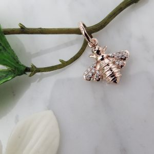 Rose Gold Sparkly Bee Charm 1