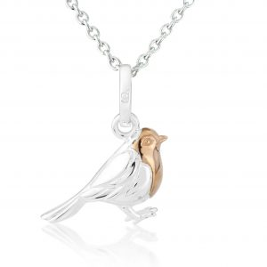Silver Robin Necklace With Rose Gold Breast 0